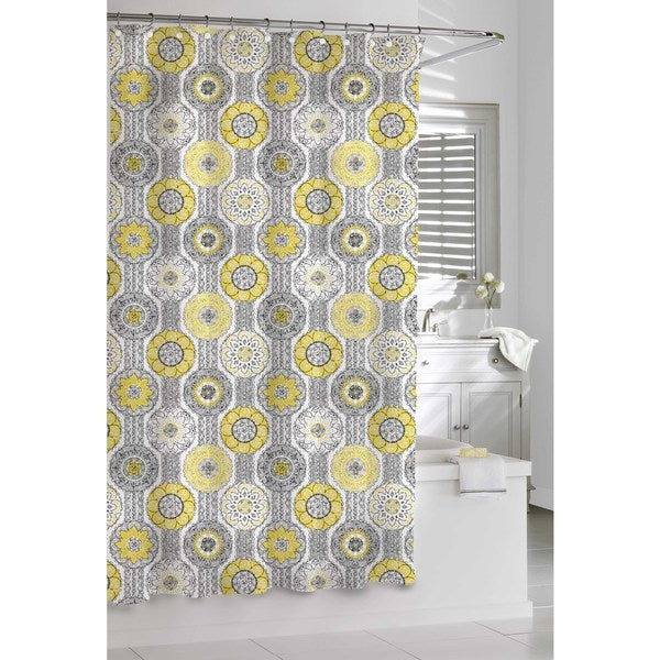 Mosaic Yellow And Grey Shower Curtain