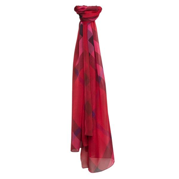 Burberry Poppy Red Check Bordered Silk Chiffon Scarf