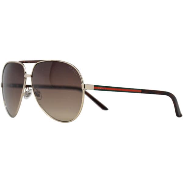 23a0ca2e24 Shop Gucci Unisex  GG 1933 S  Gold  Havana Aviator Sunglasses - Free ...