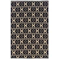 Linon Foundation Collection Black Ikat Reversible Rug (5' x 8') - 5' x 8'
