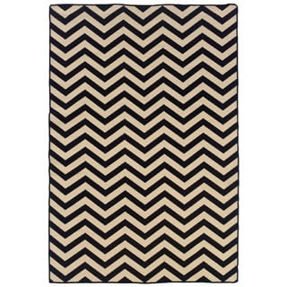 Linon Foundation Collection Black Chevron Reversible Rug (5' x 8')