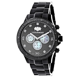 Luxurman Men's 1/4ct TDW Black Diamond Watch with Metal Band and Extra Leather Straps