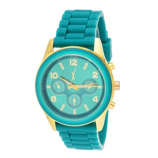 Xtreme Time Women's Round Rubber Green Sport Goldtone Watch