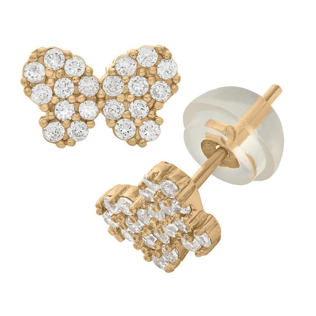 14k 14kt Yellow /& Rhodium BUTTERFLY WIRE EARRING w//WHITE Diamond Cut ACCENTS