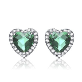 Collette Z Sterling Silver Green Cubic Zirconia Heart Earrings