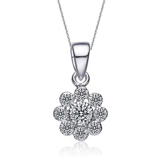 Collette Z Sterling Silver Cubic Zirconia Flower Shape Necklace