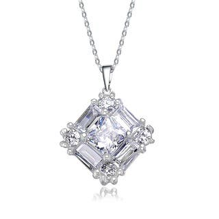Collette Z Sterling Silver Cubic Zirconia Square Necklace|https://ak1.ostkcdn.com/images/products/8975695/P16183394.jpg?impolicy=medium
