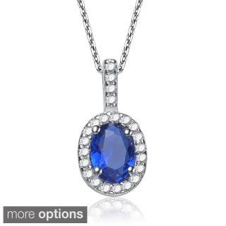 Collette Z Sterling Silver Cubic Zirconia Blue or Green Cubic Zirconia Oval Necklace