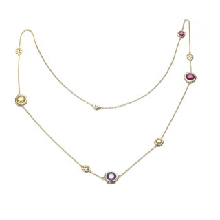 Collette Z Gold-plated Sterling Silver Multi Color Cubic Zirconia Diamond By-the-Yard Necklace