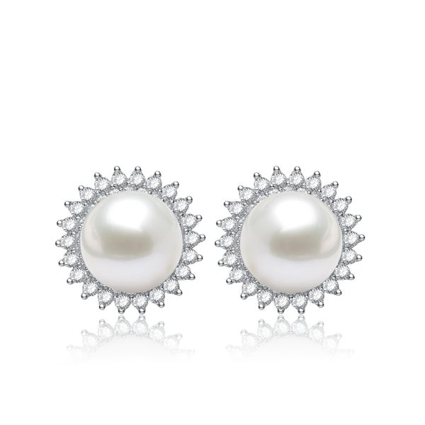 Collette Z Sterling Silver White Freshwater Pearl Cubic Zirconia Flower Earrings (10.5 mm)