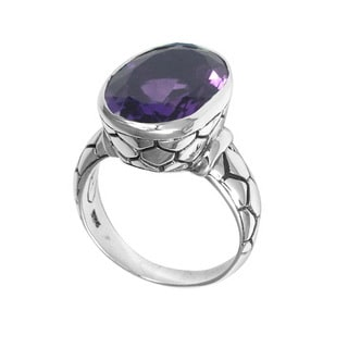 Handcrafted Sterling Silver Bali Faceted Amethyst Cobblestone Ring (Indonesia)
