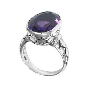 Handmade Sterling Silver Bali Faceted Amethyst Cobblestone Ring (Indonesia)