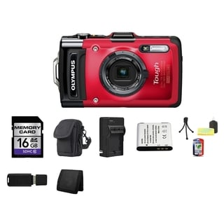 Olympus Tough TG-2 iHS Waterproof Red Digital Camera 16GB Bundle