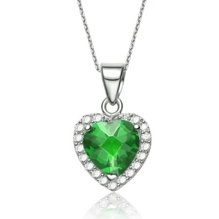 Collette Z Sterling Silver Heart-cut Green Cubic Zirconia Necklace