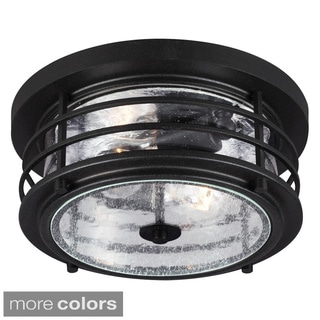 Sauganash 2-light Outdoor Ceiling Flush Mount with Clear Seeded Glass