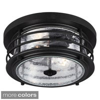 Shop vaxcel lighting t0137 kingston 2 light flush mount outdoor sauganash 2 light outdoor ceiling flush mount with clear seeded glass aloadofball Image collections
