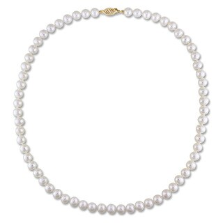Miadora 14k Yellow Gold White Cultured Freshwater Pearl Necklace (6-7 mm)