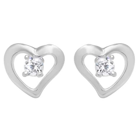 Sterling Essentials Sterling Silver Cubic Zirconia Open Heart Stud Earrings