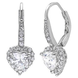 Sterling Silver Cubic Zirconia Heart Halo Drop Earrings