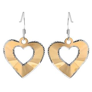 Sterling Essentials Silver Two-tone Laser-cut Heart Drop Earrings
