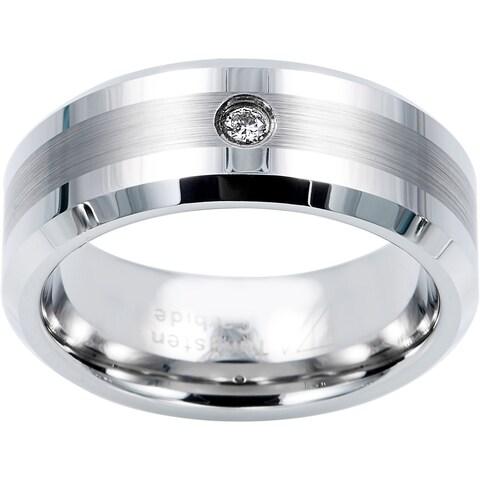 Cambridge Tungsten Carbide Diamond Accent Comfort Fit Band
