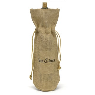 Hortense B. Hewitt Mr & Mrs Burlap Wine Bag
