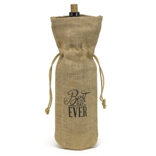 Hortense B. Hewitt Best Day Ever Burlap Wine Bag