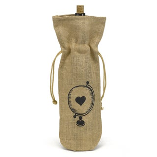 Hortense B. Hewitt Glove with Heart Burlap Wine Bag