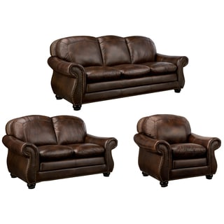 Monterrey Premium Brown Top Grain Leather Sofa, Loveseat and Chair