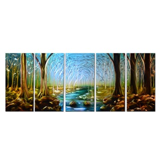 'Forest' Hand-painted 5-piece Metal Wall Art