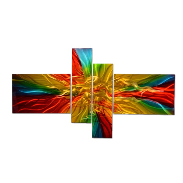 Vibrant Colored Hand-painted 4-piece Metal Wall Art