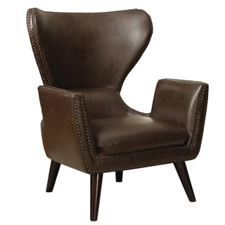 Brown Leatherette Nailhead Trim Transitional Accent Chair