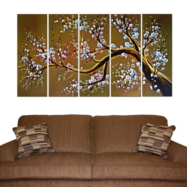 shop large abstract 39 modern brown tree 39 oil painting 5 piece canvas set on sale free. Black Bedroom Furniture Sets. Home Design Ideas