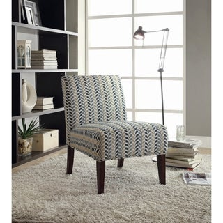 Coaster Company Blue and Beige Leaf Pattern Armless Accent Chair
