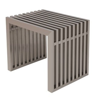 LeisureMod Sage Gridiron Stainless Steel Bench-Small