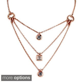 Sonia Bitton Sterling Silver Cubic Zirconia Three-layered Design Necklace