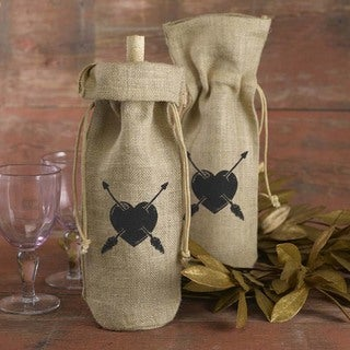 Hortense B. Hewitt Heart and Arrow Burlap Wine Bag