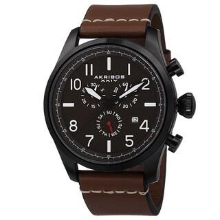 Akribos XXIV Men's Swiss Quartz Chronograph Leather Strap Watch with FREE GIFT