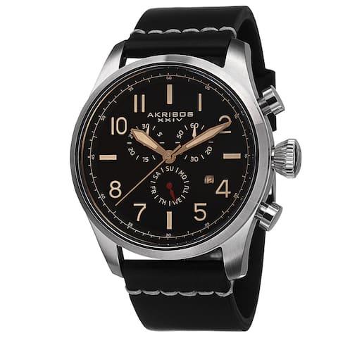 Akribos XXIV Men's Swiss Quartz Chronograph Leather Silver-Tone Strap Watch