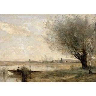Jean-Baptiste-Camille Corot 'Fisherman Moored at a Bank' Oil on Canvas Art