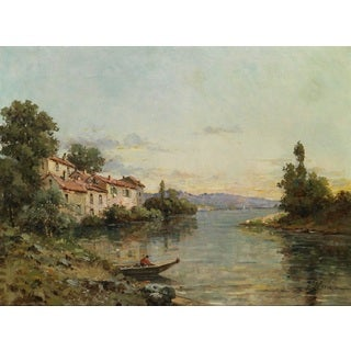 Gustave Mascart 'River Landscape in Southern France' Oil on Canvas Art