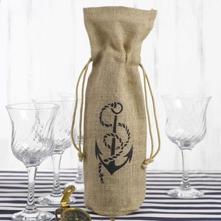 Hortense B. Hewitt Anchor Burlap Wine Bag