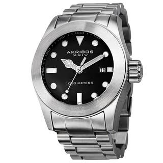 Akribos XXIV Men's Water-Resistant Divers Silver-Tone Bracelet Watch with FREE GIFT|https://ak1.ostkcdn.com/images/products/8976289/Akribos-XXIV-Mens-Water-Resistant-Divers-Bracelet-Watch-P16183854.jpg?impolicy=medium