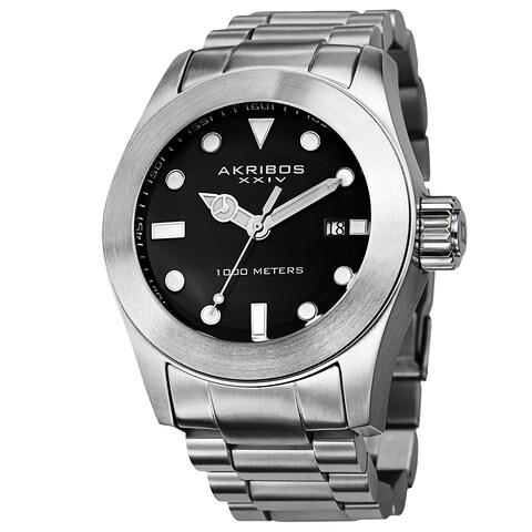 Akribos XXIV Men's Water-Resistant Divers Silver-Tone Bracelet Watch