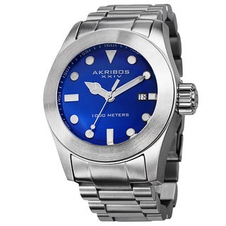 Akribos XXIV Men's Water-Resistant Divers Blue Bracelet Watch with FREE GIFT