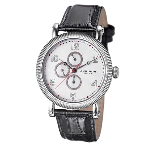 Akribos XXIV Men's Multifunction Embossed Dial Leather White Strap Watch