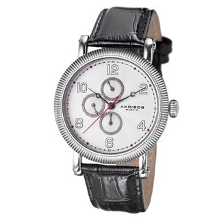Akribos XXIV Men's Multifunction Embossed Dial Leather White Strap Watch with FREE GIFT
