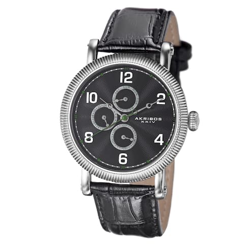 Akribos XXIV Men's Multifunction Embossed Dial Leather Silver-Tone Strap Watch