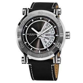 Akribos XXIV Men's Stainless Steel Quartz Day Date Black Strap Watch with FREE GIFT|https://ak1.ostkcdn.com/images/products/8976296/Akribos-XXIV-Mens-Stainless-Steel-Quartz-Day-Date-Strap-Watch-P16183860.jpg?impolicy=medium