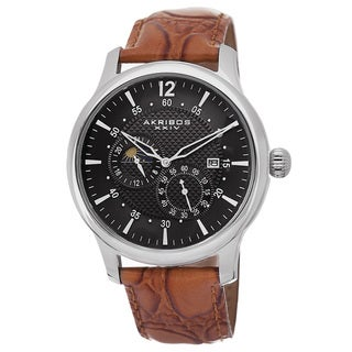 Akribos XXIV Men's Stainless Steel Automatic Multifunction Silver-Tone Strap Watch with FREE GIFT